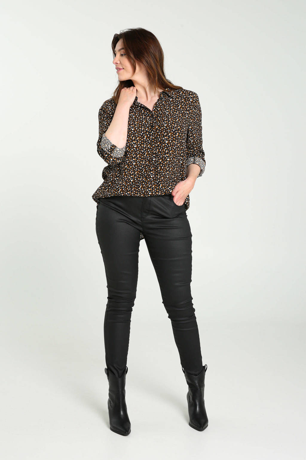 Cassis blouse met all over print bruin/zwart/wit