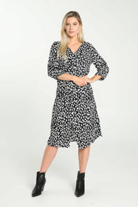 Cassis jurk met panterprint zwart/wit, Zwart/wit