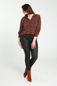 Cassis blouse met all over print rood/zwart, Rood/zwart