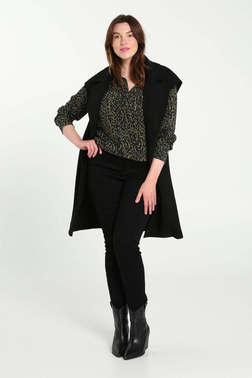 Cassis blouse met all over print donkergroen/zwart, Donkergroen/zwart