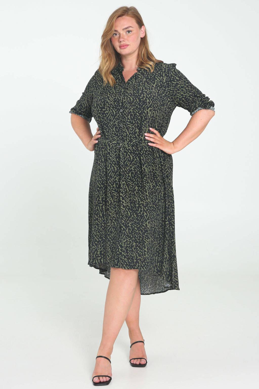 Paprika jurk met all over print groen/zwart, Groen/zwart