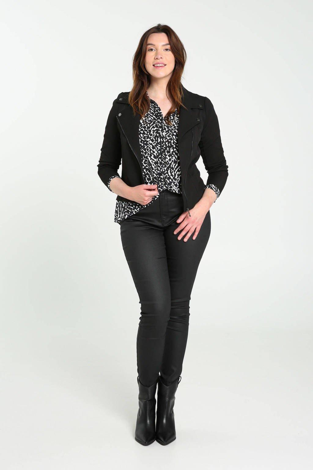 Cassis blouse met all over print zwart/ecru, Zwart/ecru