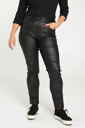 coated slim fit broek Louise zwart