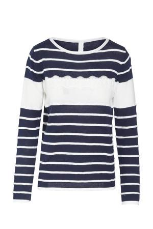 gestreepte fijngebreide hoodie marine/wit