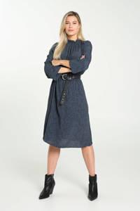Cassis jurk met dierenprint en plooien blauw/zwart, Blauw/zwart