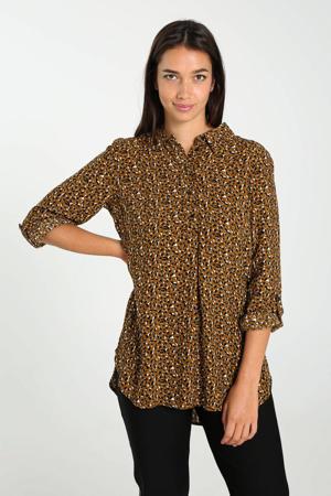 blouse met all over print oker/zwart/wit