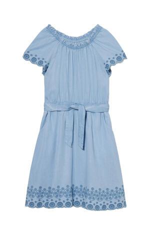 off shoulder spijkerjurk met borduursels lichtblauw