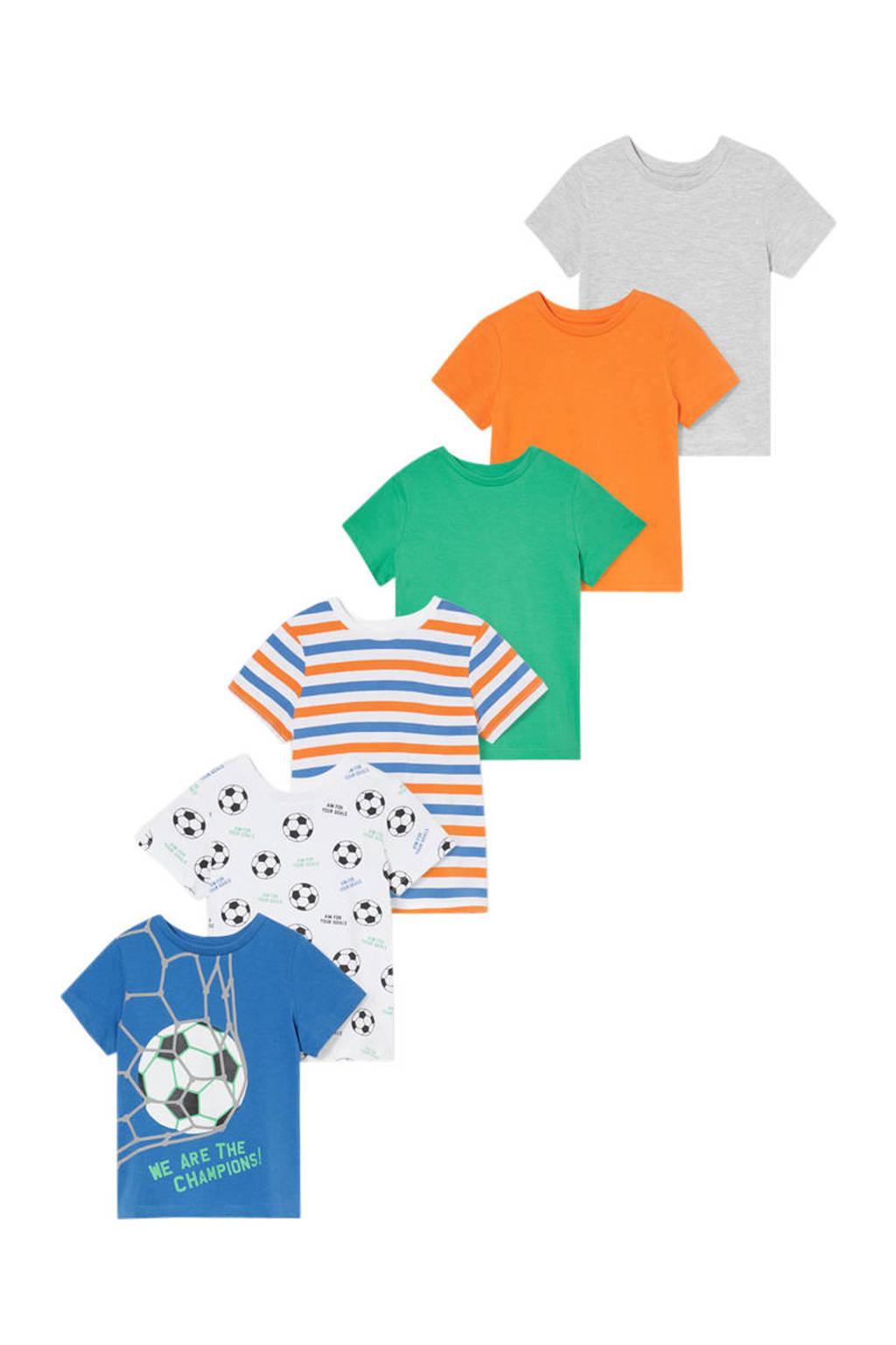 C&A Tough Team T-shirt - set van 6 multi, Blauw/wit/rood/groen/oranje/grijs