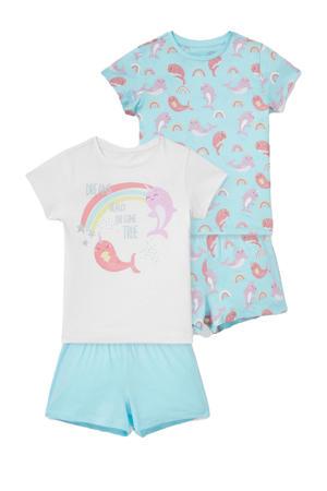 shortama- set van 2 blauw/wit/roze