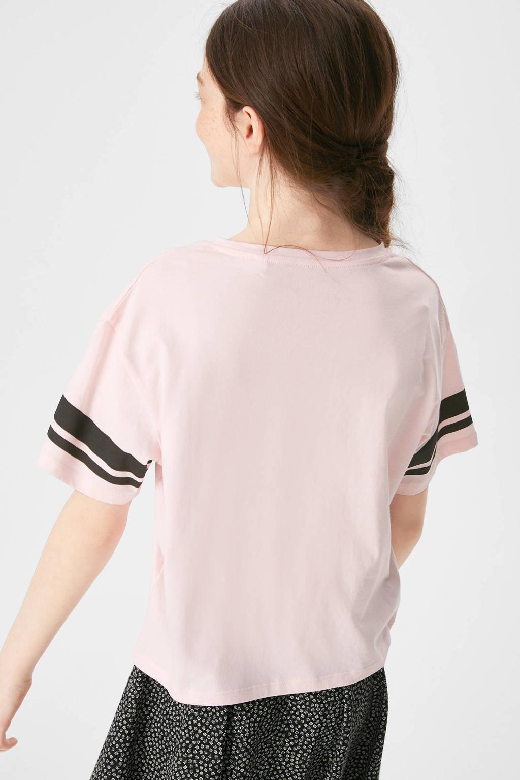 C&A Here & There T-shirt van biologisch katoen lichtroze/zwart, Lichtroze/zwart