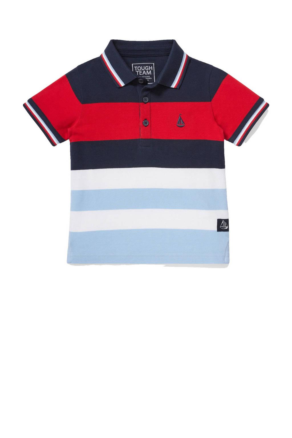 C&A Tough Team gestreepte polo donkerblauw/rood/lichtblauw