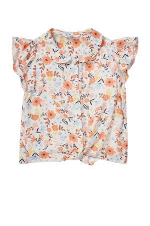 gebloemde blouse oranje