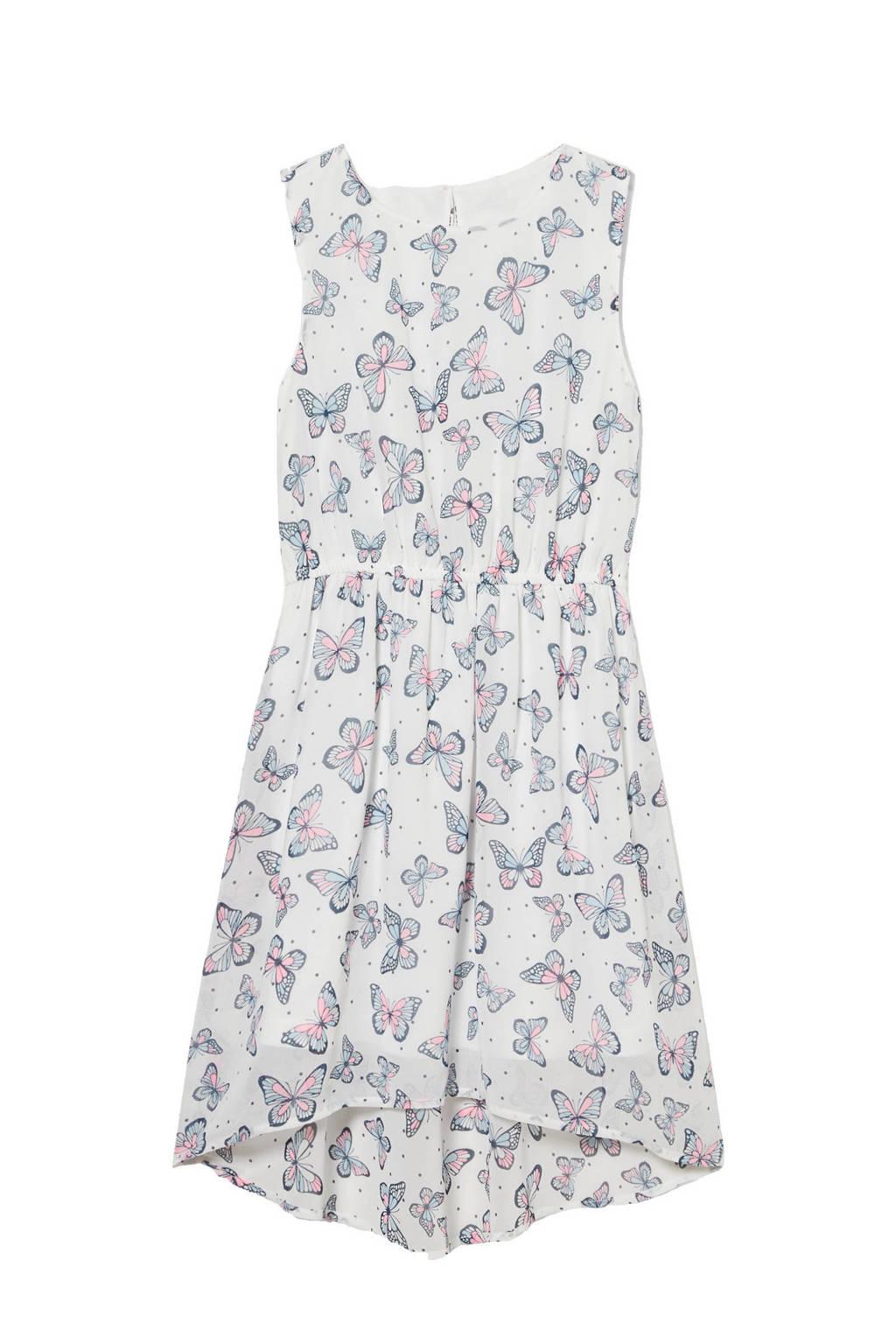 C&A Here & There jurk met dierenprint en plooien wit/lichtroze/lichtblauw, Wit/lichtroze/lichtblauw