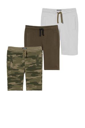 sweatshort - set van 3 army groen/olijfgroen/ecru