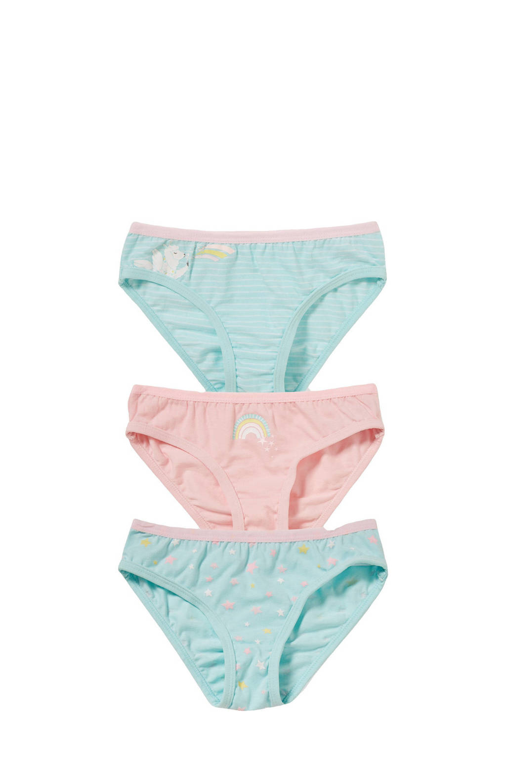 C&A Palomino slip - set van 3 all over print roze/groen, Roze/groen