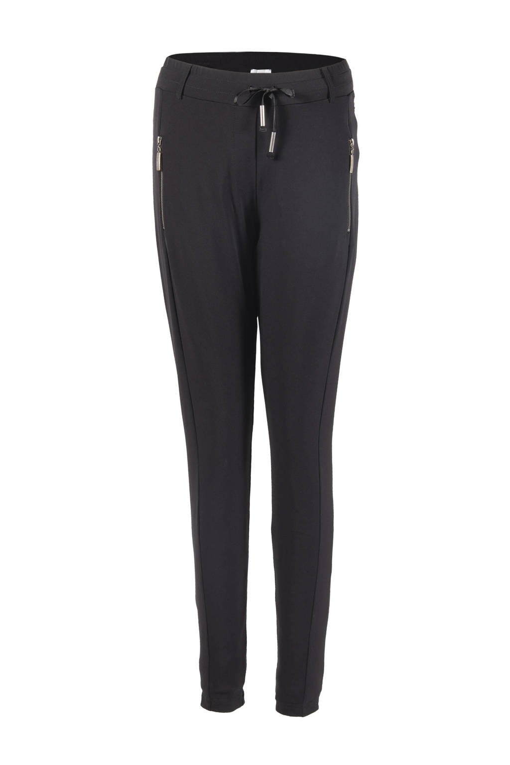 TQ-Amsterdam high waist tapered fit broek Maud van travelstof zwart, Zwart