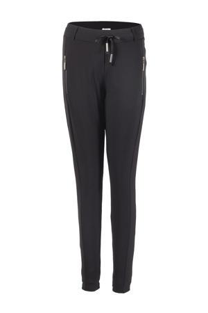 high waist tapered fit broek Maud van travelstof zwart