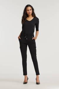 TQ-Amsterdam high waist tapered fit broek Karin van travelstof zwart, Zwart