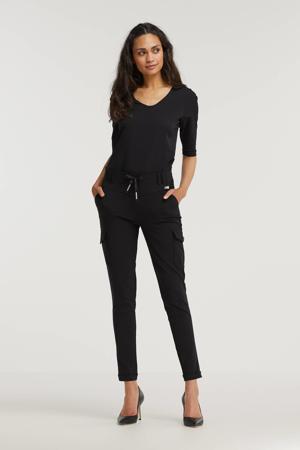 high waist tapered fit broek Karin van travelstof zwart