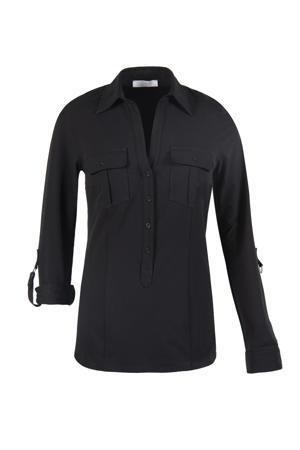 blouse Greet van travelstof zwart
