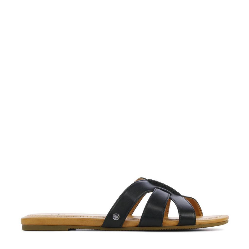 UGG Teague 1119750 leren slippers zwart, Zwart