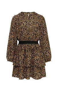 KIDS ONLY jurk KONLUNA met all over print en plooien bruin/zwart, Bruin/zwart