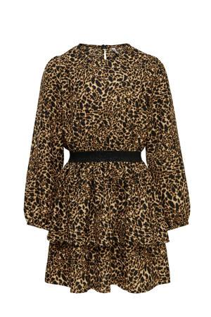 jurk KONLUNA met all over print en plooien bruin/zwart