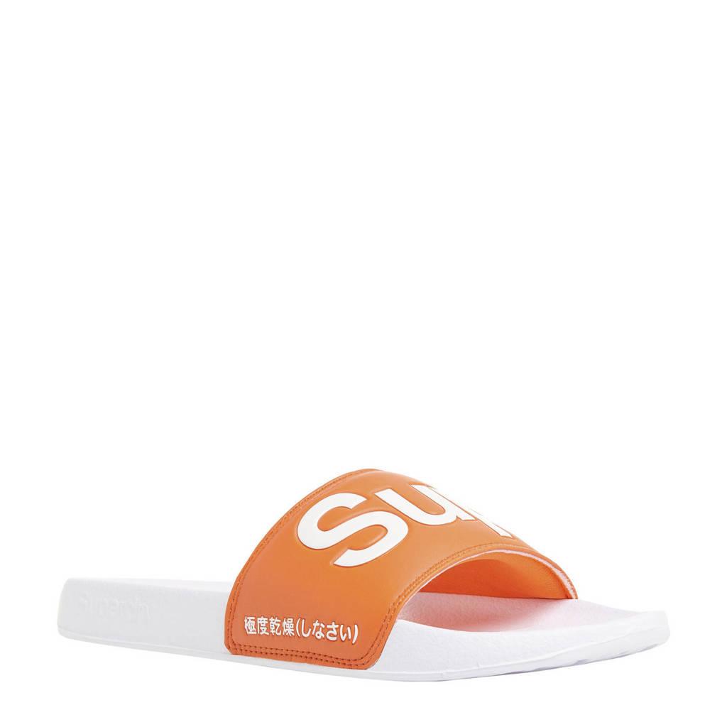 Superdry Sport Pool Slide  badslippers oranje/wit, Oranje/wit