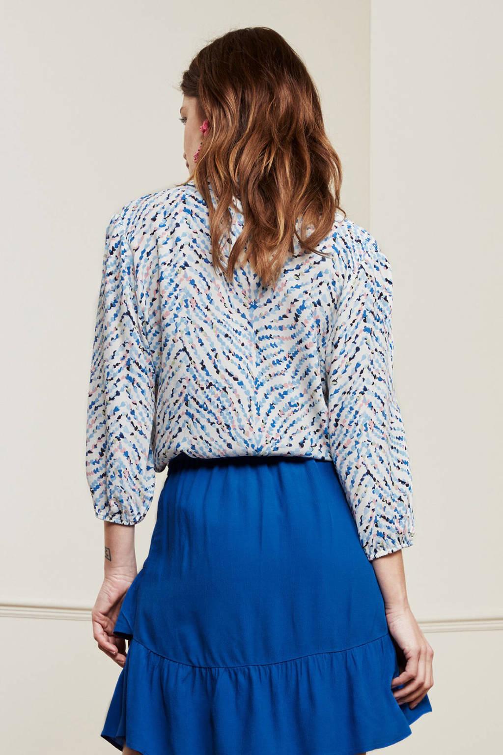 Fabienne Chapot geweven blouse Gina Blouse met all over print blauw/ roze, Blauw/ Roze