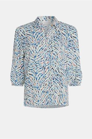 geweven blouse Gina Blouse met all over print blauw/ roze