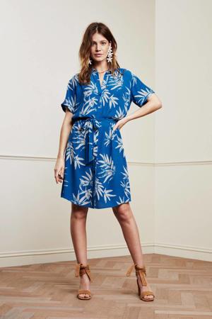 blousejurk Boyfriend dress met all over print en ceintuur blauw
