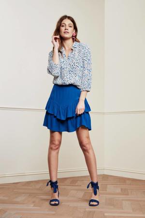 mini rok Lara Solid Skirt met ruches blauw