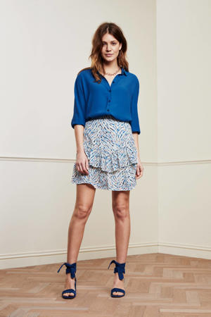 mini rok Lara Solid Skirt met all over print en ruches wit/lichtblauw