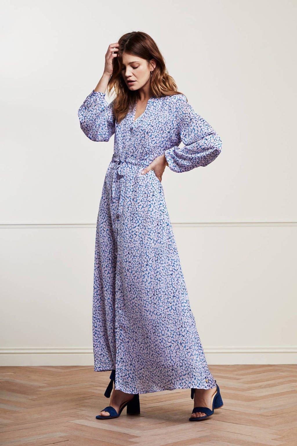 Fabienne Chapot maxi jurk Frida  van gerecycled polyester blauw/ roze, Blauw/ Roze