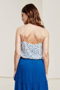 Fabienne Chapot geweven top Lora  met all over print gebroken wit/ blauw, Gebroken wit/ blauw