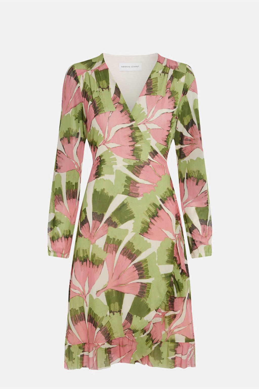 Fabienne Chapot wikkeljurk Natasja Frill van gerecycled polyester groen/ roze, Groen/ roze