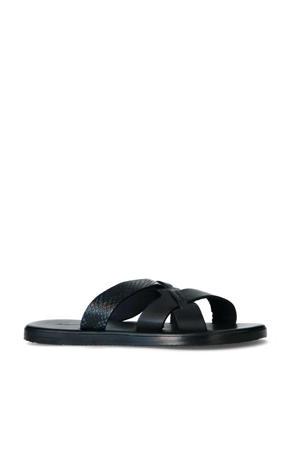 Roy Snake  leren slippers zwart