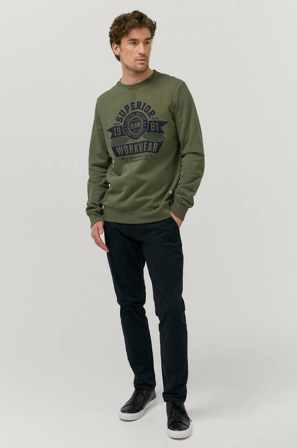 Ellos ON OUR TERMS sweater met printopdruk olijfgroen, Olijfgroen