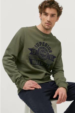 sweater met printopdruk olijfgroen