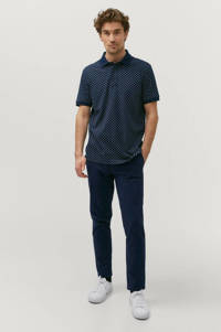 Ellos ON OUR TERMS regular fit polo met all over print donkerblauw, Donkerblauw