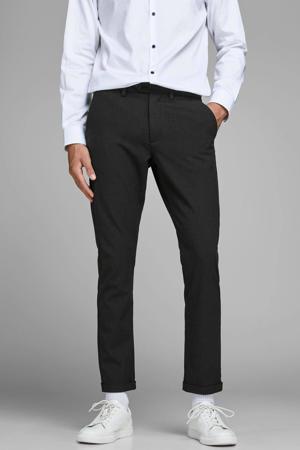 slim fit pantalon Marco met all over print donkergrijs