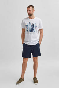 SELECTED HOMME T-shirt met printopdruk wit, Wit