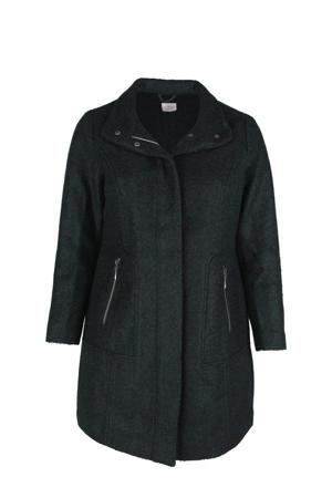 gemêleerde  coat met wol donkergroen