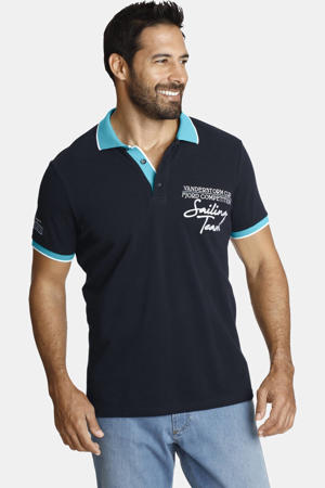 oversized polo IWAR Plus Size met contrastbies donkerblauw/turquoise