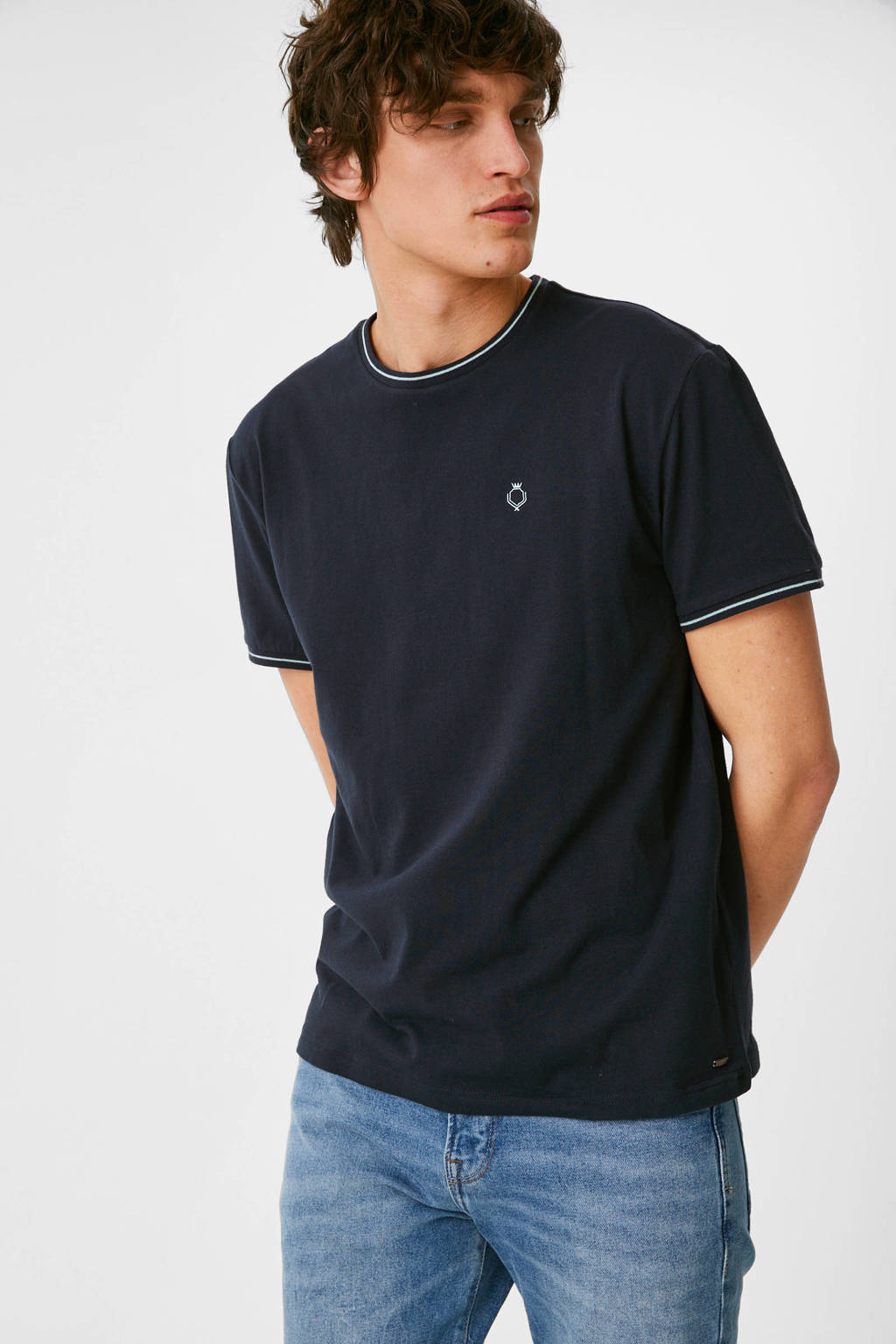 C&A T-shirt met contrastbies donkerblauw, Donkerblauw