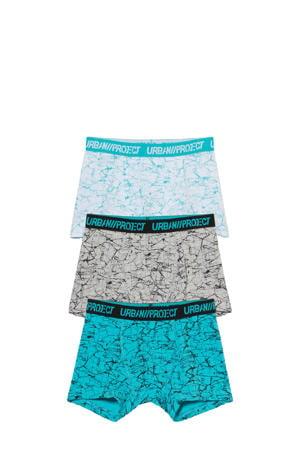 boxershort - set van 3 blauw/grijs