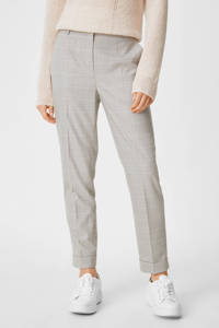 C&A Yessica Tailored geruite straight fit broek van gerecycled polyester beige/lila, Beige/lila