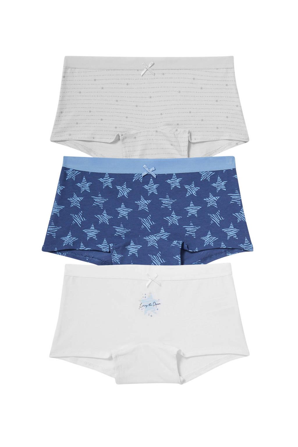C&A Here & There boxershort - set van 3 blauw/wit, Blauw/wit
