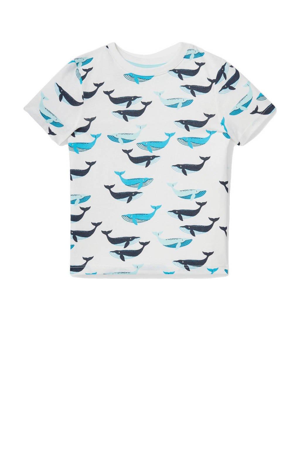 C&A T-shirt van biologisch katoen ecru/blauw/donkerblauw, Ecru/blauw/donkerblauw