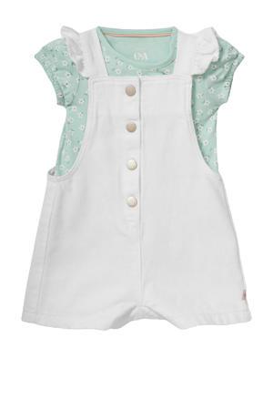 baby tuinbroek + T-shirt wit/mintgroen